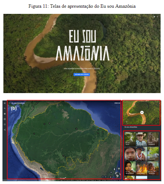 """Telas de apresentação do Eu sou Amazônia. Elaborado para a dissertação Narratividade softwarizada: travessias no """"Eu sou Amazônia"""", do Google Earth"""